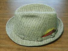 Vintage Tweed Fedora JC Penny Men's Brown Feathered  Hat Size L 7 1/4 - 7 3/8