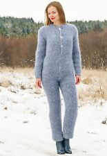 Hand knitted mohair sweater bodysuit fuzzy catsuit SUPERTANYA grey overall