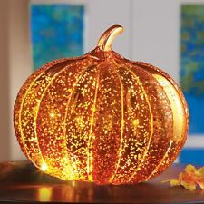 LED Light Up Mercury Glass Halloween/Thanksgiving Pumpkin Tabletop Decoration