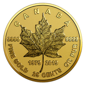 25 Cents 40th Anniversary - 40 J. Gold Maple Leaf Kanada Gold Reverse Proof 2019