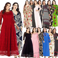 Plus Size Women Boho Maxi Dress Long Sleeve Abaya Printed Beach Holiday Dresses