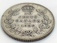 1936 Canada Ten 10 Cent Dime Silver Canadian Circulated George V Coin K100