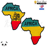 Africa Map Rasta Flag Embroidered Iron On /Sew On Patch Badge For Clothes etc