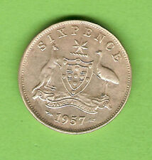1957  AUSTRALIAN SILVER SIXPENCE COIN