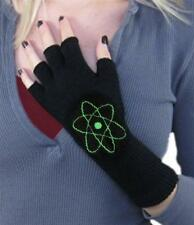 Black Long Wrist Knit Fingerless Gloves Green Atom Flower Winter Typing texting