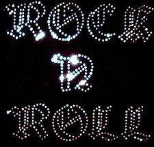ROCK AND ROLL IRON ON TRANSFER CLEAR RHINESTONE CRYSTAL DIAMANTE DESIGN