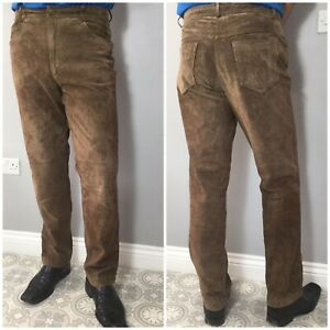 VTG Brown Real Leather Suede Straight Leg Trousers Jeans W34 L32 Gothic Biker