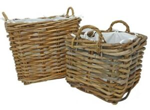 Manor Dorchester Rattan Baskets with Handles and Lining, 2 SIZES