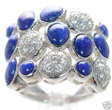 Joseph Esposito Diamonique Solid 925 Sterling Silver Blue Lapis Ring Sz-6 '