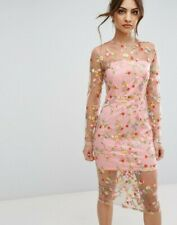 e1781046 PrettyLittleThing Long Sleeve Floral Embroidered Sheer Midi Dress Pink Size  12