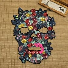 1pc Black Floral Skull Sequin Embroidered Fashion Applique Sew On clothe Patch