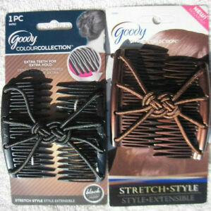 Goody Color Collection Updo Stretch Style Hair Clip Plastic Comb Elastic Black