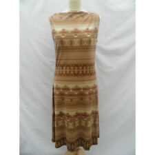 RALPH LAUREN Brown Beige Patterned Silk Shift Tunic Dress XS UK 6 8 Brand New