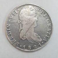 1821 MEXICO ZACATECAS 8 Reales Silver Coin Zs R G  ** KM# 111.5 **