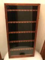 Vintage Wooden Souvenir Spoon Display Case Glass Door 50 Slots
