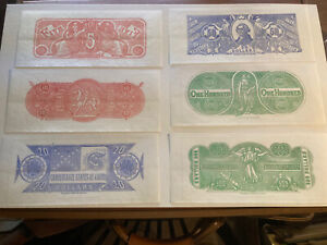 Set of Confederate Banknote Chemicograph Backs SDC $5, $10, $20, $50, $100, $500