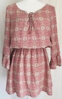 Sanctuary Vintage Springs Patchwork Lace Up Bell Sleeve Casual Dress Medium EUC