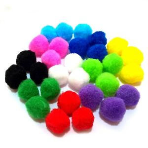 Craft Pom Poms 25mm Single or Assorted Colour Pompoms in Packs of 25-200