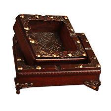 2�—Vintage Wood Ashtray Cigarette Cigar Tobacco Wooden Case Handmade Craft Gift
