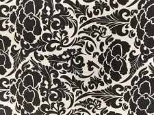 """Damask Print Fabric Novelty Denim White with Black Flowers 52"""" Wide Bty"""