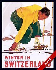 VINTAGE SWISS WINTER SKI VACATION SWITZERLAND TRAVEL AD POSTER ART CANVAS PRINT