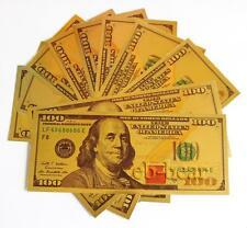 Lot 10 Pcs New $ 100 Dollar Color Gold Notes Money Banknotes Beautiful Crafts