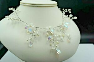 """16"""" Artisan Necklace Pearls and Iridescent Flower and Leaf Glass Beads"""
