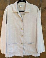 VTG CLIO Size L Beige Linen Jacket Lightweight Shoulder Pads Pockets