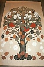 "Vtge 70s Scandinavian artist Toni Hermansson ""Seasons Tree"" fabric panel hanging"