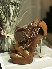 LILIANA Womens Tan Strappy Open Toe Heels with Gold Chains US 7,5