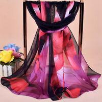 Eg _ Moda Elegante Fiore Organza lungo Scialle Sciarpa Morbido Chiffon Gift