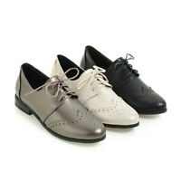 New Womens Brogues Round Toe Lace Up Block Low Heel Oxfords Casual Flats Shoes