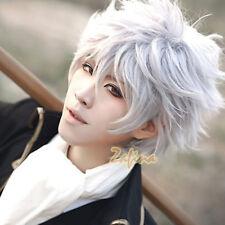 Anime Gintama Gintoki Sakata Wigs Short White Layered Hair Cosplay Wig