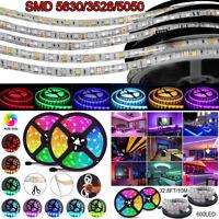 10M 600 LED Strip Light 5050 5630 3528 SMD RGB Ribbon Tape Roll Waterproof DC12V