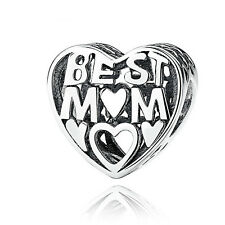 authentic 925 sterling silver Hollow Best Mom Heart European Charm fit bracelet