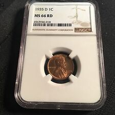 1935-D 1C Red Lincoln Cent NGC MS66 RD PRICE LOWERED!!