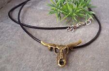 Tierschädel Büffelschädel Halskette Echt Leder Kette Bronze Skull Biker Unisex