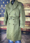 Vtg US ARMY Korean War OVERCOAT OG-107 WOOL LINED TRENCH COAT US 3rd ARMY EXC S