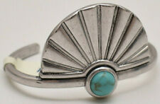 Lucky Brand Feather Cuff Bracelet Silvertone Turquoise New!