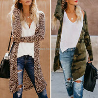 Womens Leopard Kimono Cardigan Open Front Boho Camo Long Sleeve Tops Maxi Coat/D