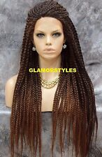 """36"""" Black Auburn Mix Box Braided Full Lace Front Wig Poetic Justice Hair Piece"""