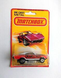 Vintage 1971 Matchbox Superfast NO.74 Orange Peel Dodge Charger, Rare Card!