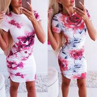 Elegant Women Floral Print Bodycon Dress Round Neck Short Sleeve Evening Dress