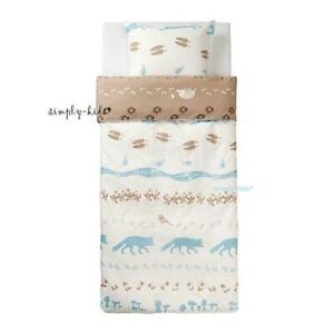 IKEA VANDRING Skogsliv TWIN size Duvet Cover w/ Pillowcase White Beige Blue NEW