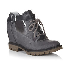 CAT Caterpillar Helena Ankle Boots Womens Grey Leather Short Buckle Shoes UK8