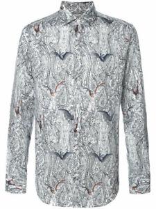 ETRO bat paisley print dress shirt grey white gothic punk steampunk dandy 41 L