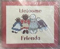 "1980s Counted Cross Stitch Embroidery Kit ""Welcome Friends"" Picture 8x10 1947F"