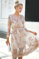 Women Sexy V-neck Sequin Party Club Beach Mesh Streetwear Summer Autumn Dress