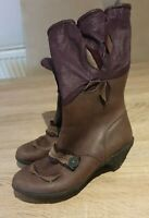 Dkode  Ladies  Boots Size 41 UK7 Brown  Purple  Leather