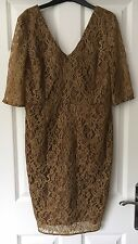 MARKS & SPENCER AUTOGRAPH FLORAL LACE BRONZE SHIFT DRESS - SIZE 14 - BNWT £79